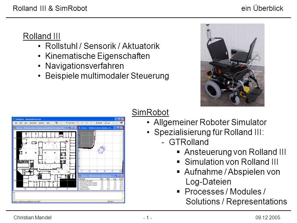 Rollstuhl / Sensorik / Aktuatorik Kinematische Eigenschaften