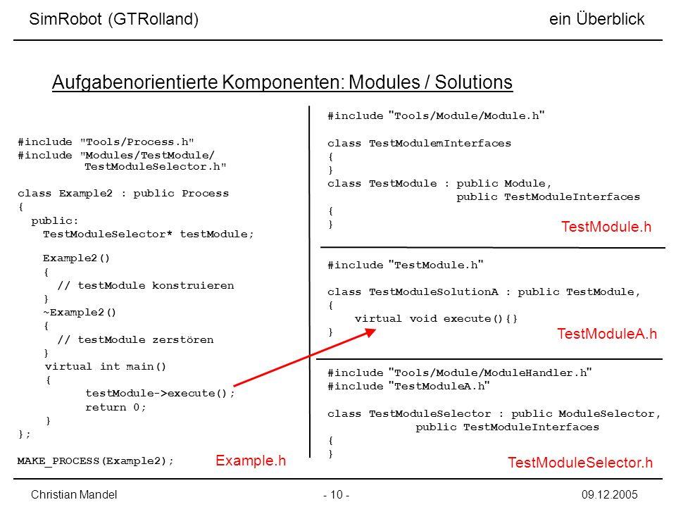Aufgabenorientierte Komponenten: Modules / Solutions