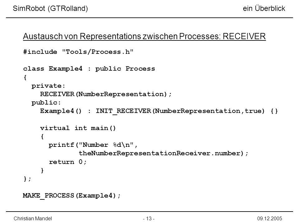 Austausch von Representations zwischen Processes: RECEIVER
