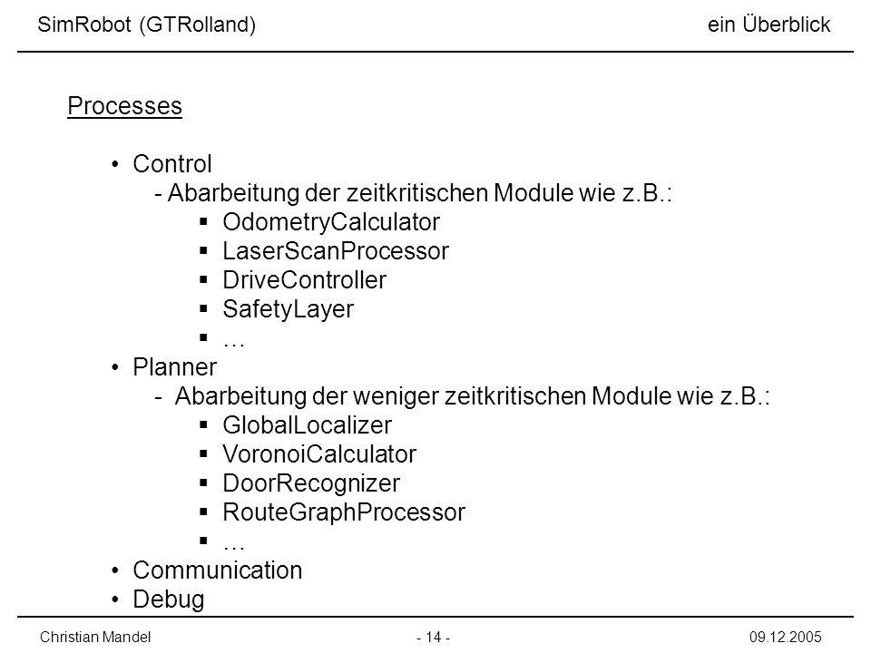 Abarbeitung der zeitkritischen Module wie z.B.: OdometryCalculator