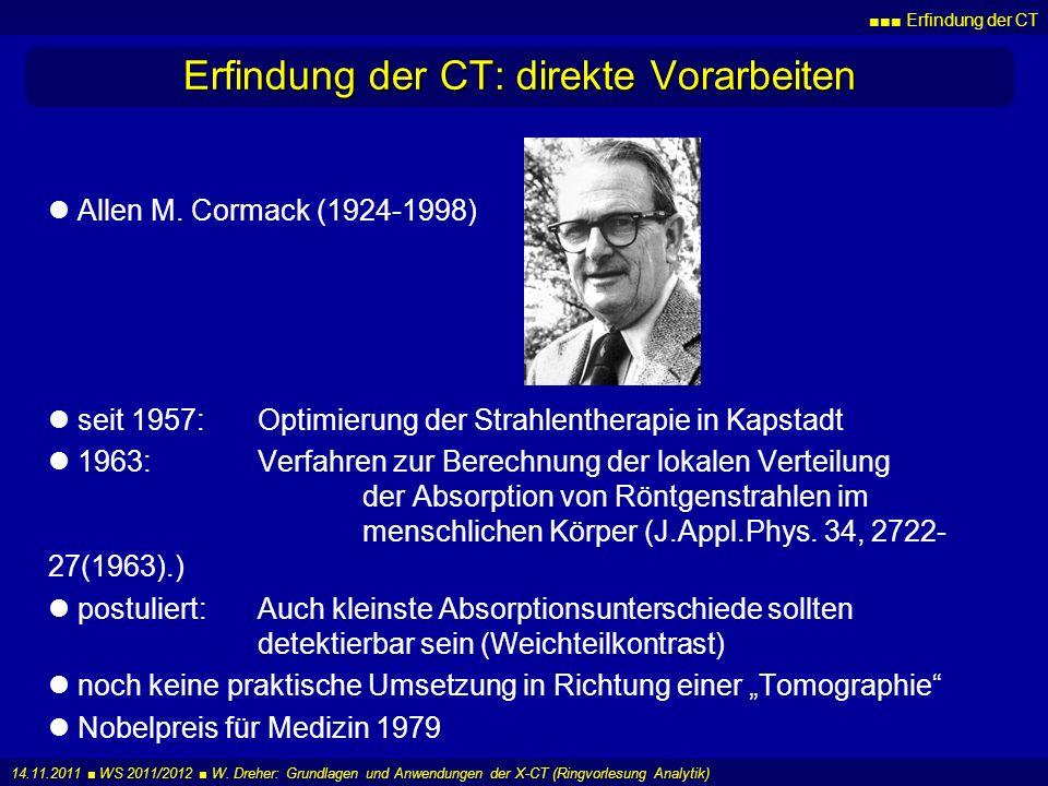 Erfindung der CT: direkte Vorarbeiten