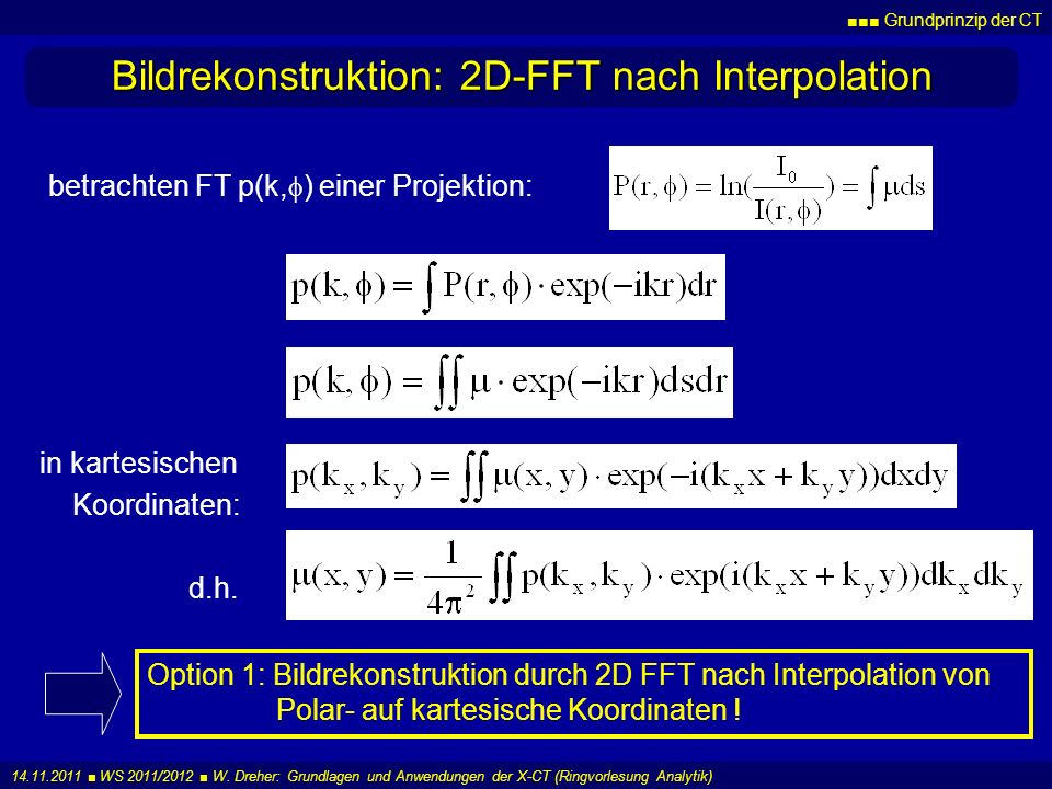 Bildrekonstruktion: 2D-FFT nach Interpolation