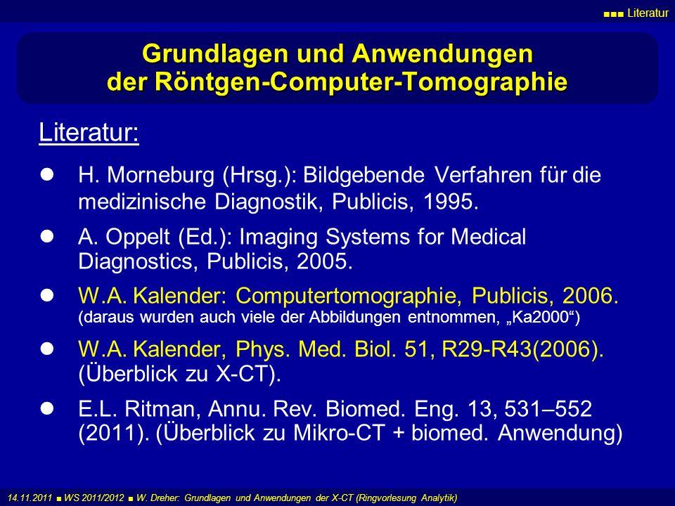 Grundlagen und Anwendungen der Röntgen-Computer-Tomographie