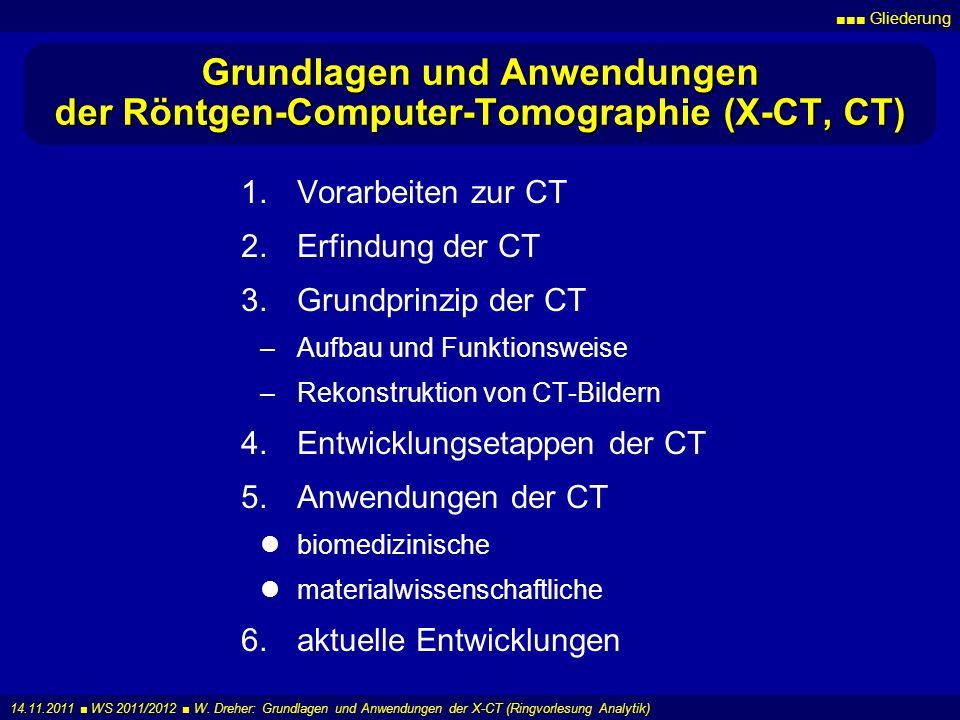 Grundlagen und Anwendungen der Röntgen-Computer-Tomographie (X-CT, CT)