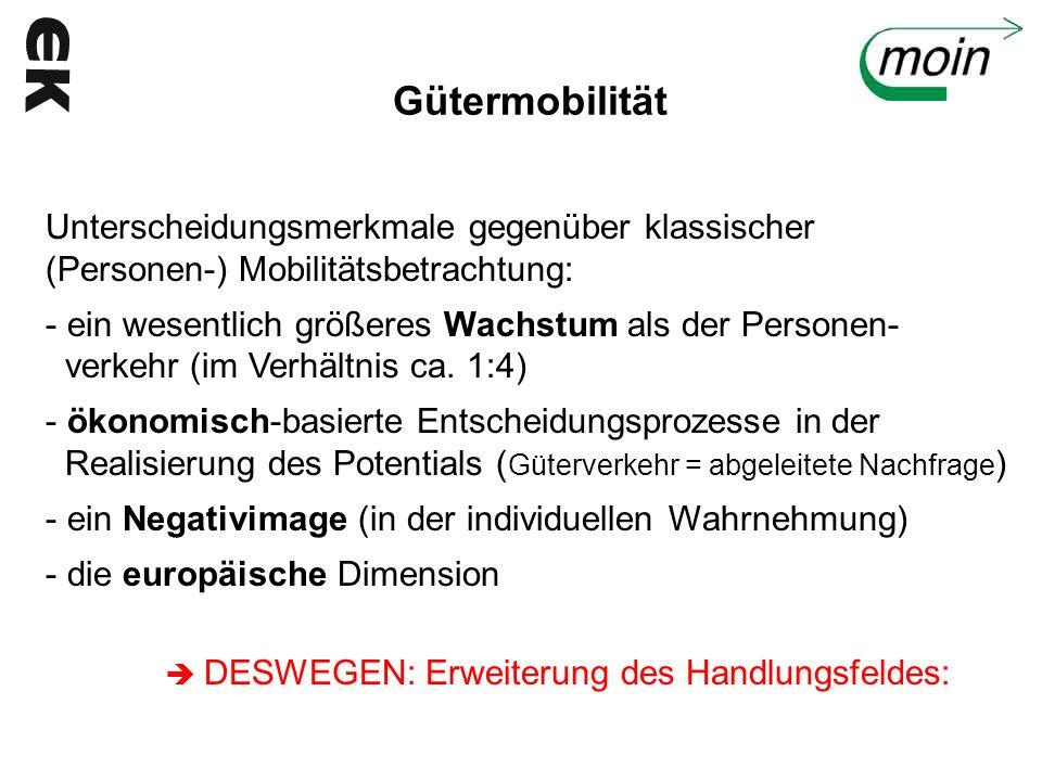 Gütermobilität Unterscheidungsmerkmale gegenüber klassischer (Personen-) Mobilitätsbetrachtung: