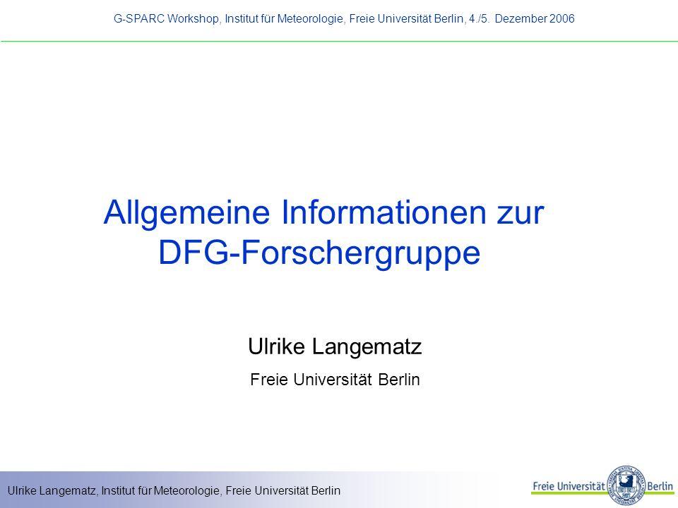 Allgemeine Informationen zur DFG-Forschergruppe