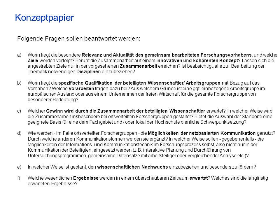 Konzeptpapier Folgende Fragen sollen beantwortet werden: