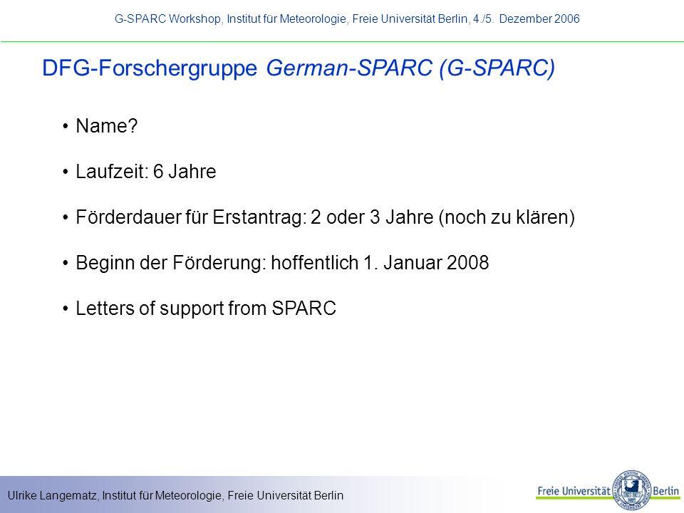 DFG-Forschergruppe German-SPARC (G-SPARC)