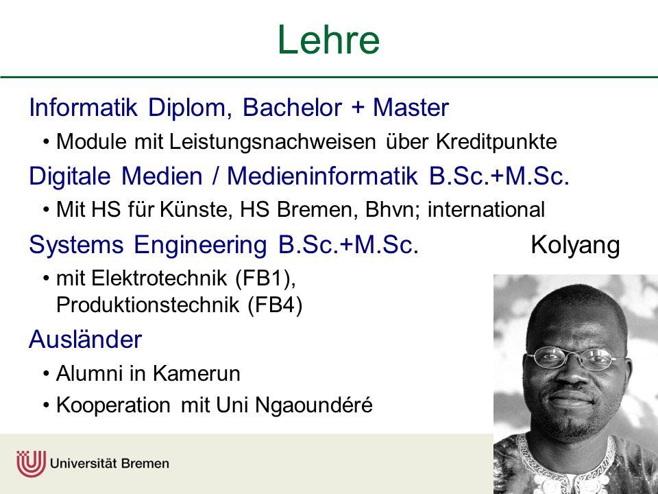 Lehre Informatik Diplom, Bachelor + Master