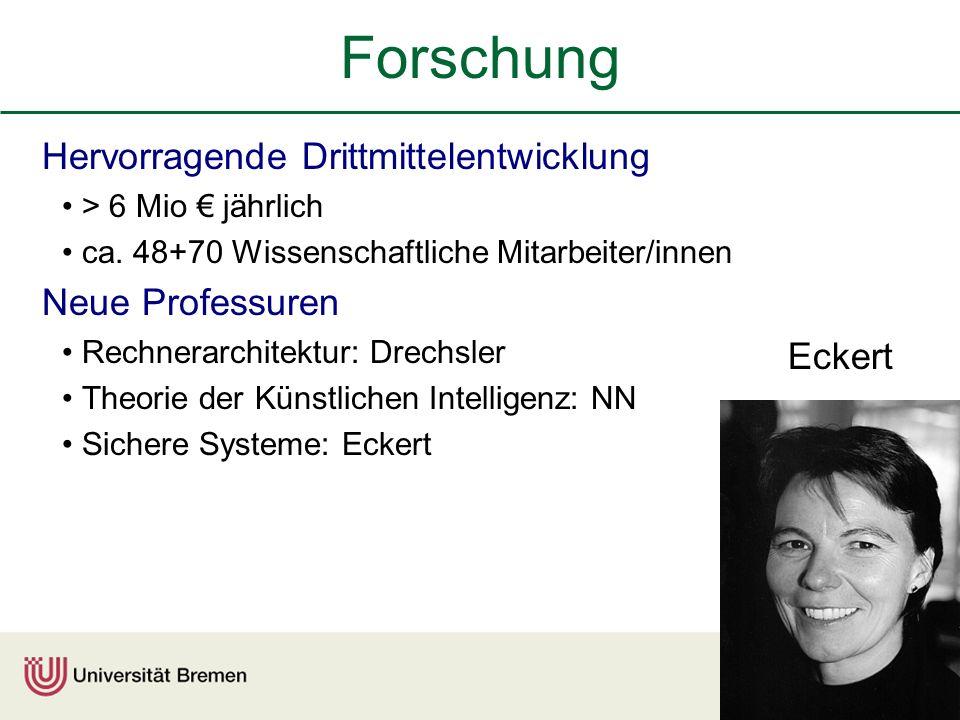 Forschung Hervorragende Drittmittelentwicklung Neue Professuren Eckert