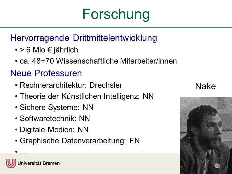 Forschung Hervorragende Drittmittelentwicklung Neue Professuren Nake