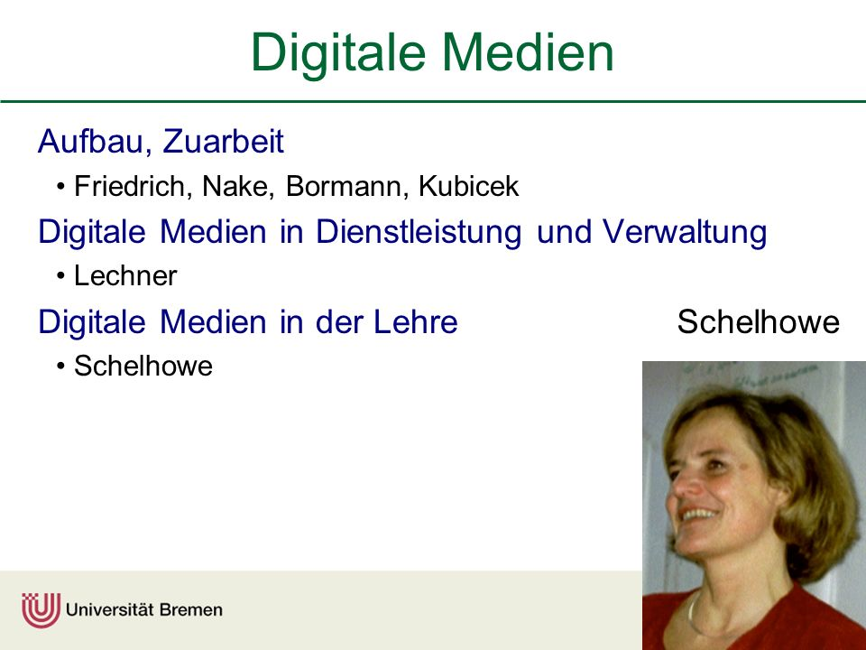 Digitale Medien Aufbau, Zuarbeit