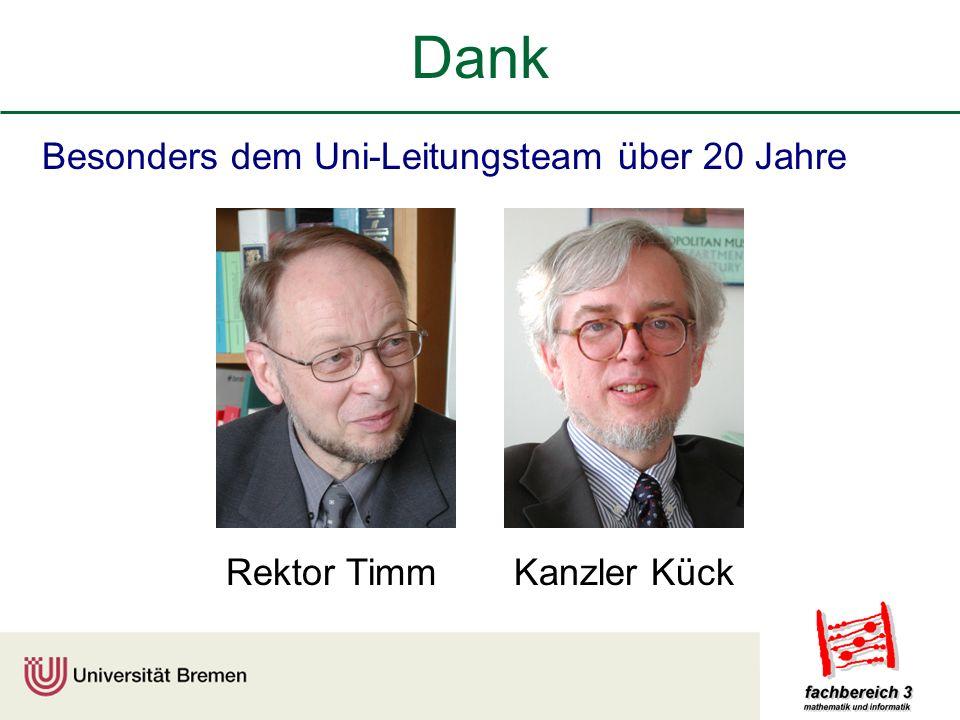 Dank Besonders dem Uni-Leitungsteam über 20 Jahre Rektor Timm