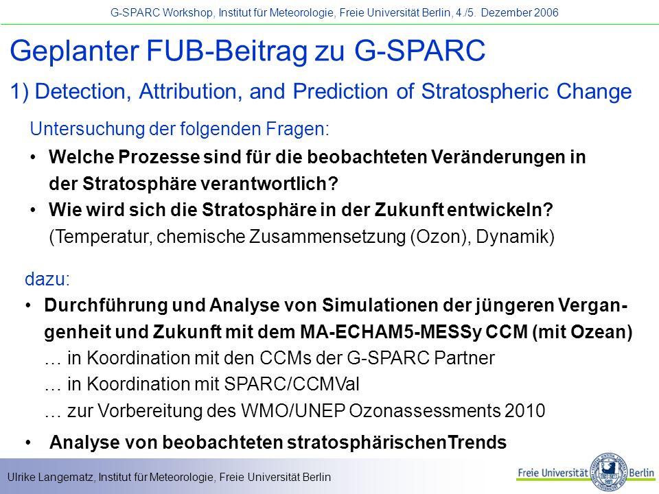 Geplanter FUB-Beitrag zu G-SPARC