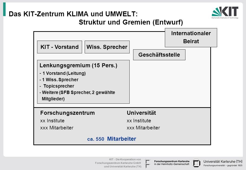 Das KIT-Zentrum KLIMA und UMWELT: Struktur und Gremien (Entwurf)