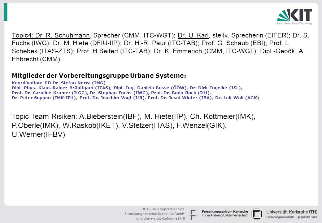 Topic4: Dr. R. Schuhmann, Sprecher (CMM, ITC-WGT); Dr. U. Karl, stellv