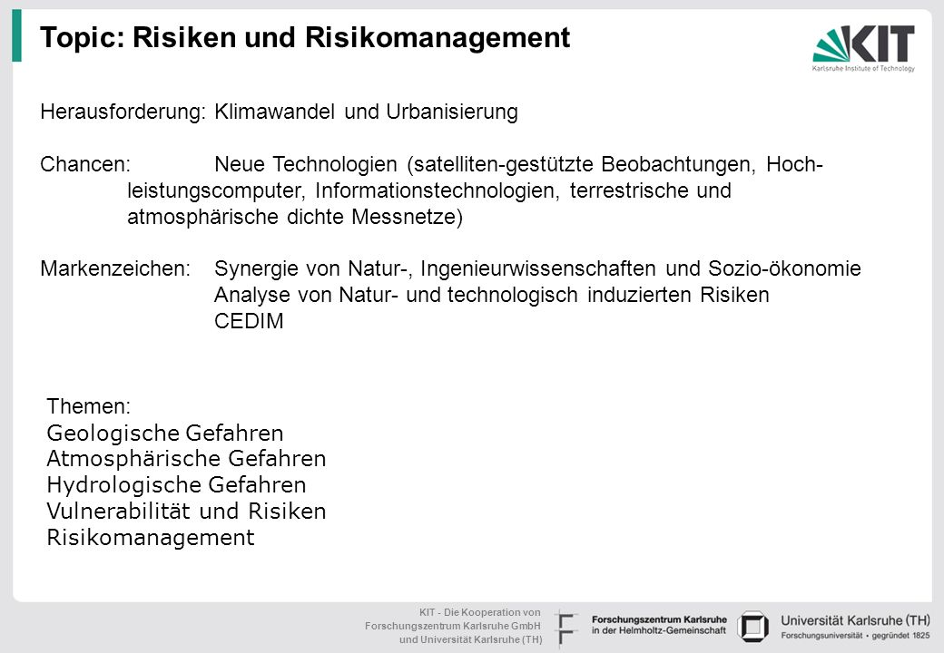 Topic: Risiken und Risikomanagement