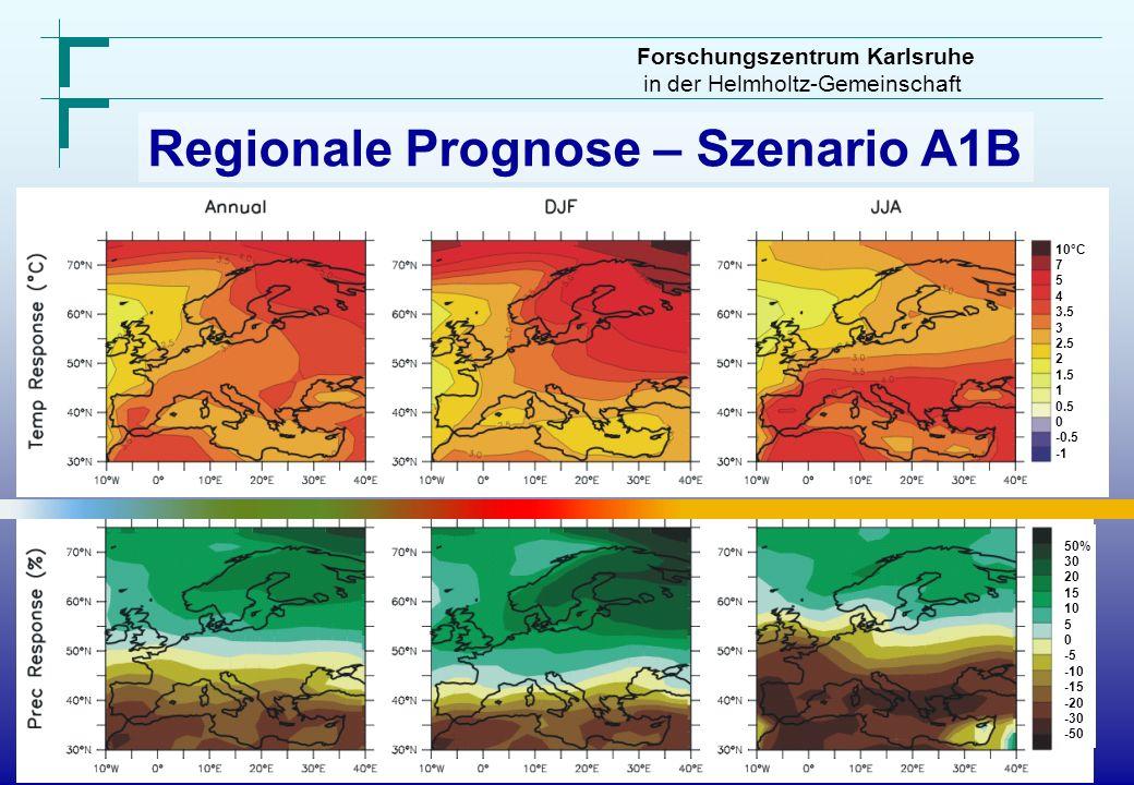 Regionale Prognose – Szenario A1B