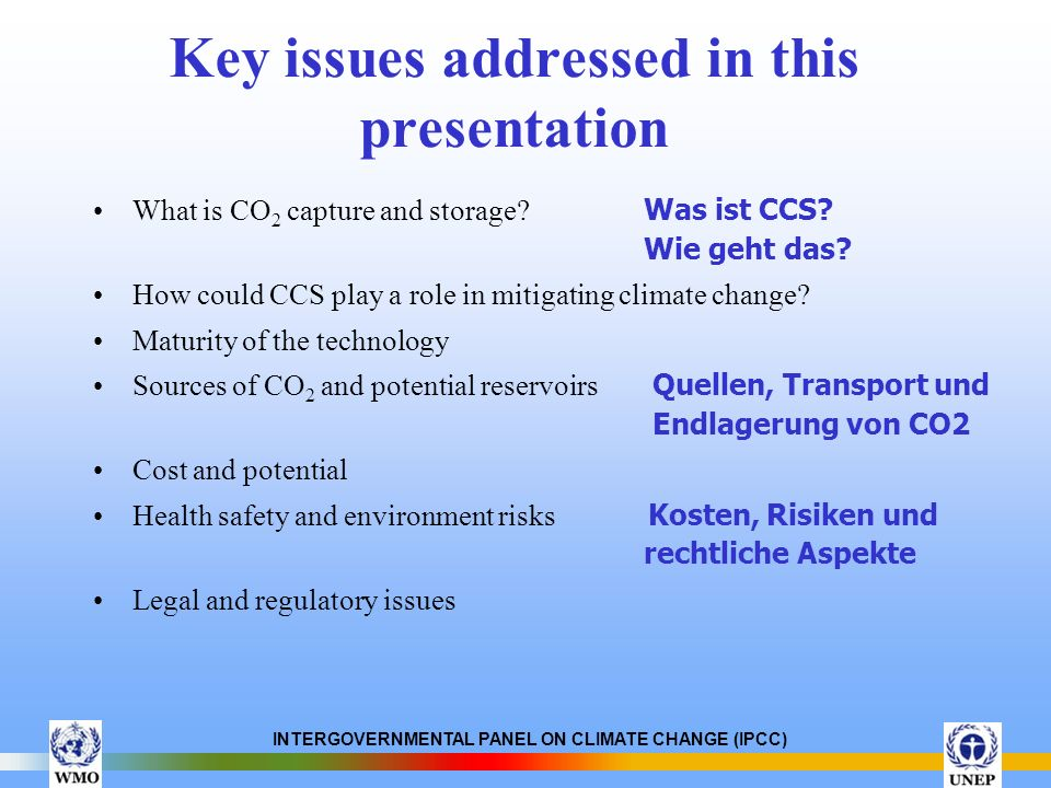 Key issues addressed in this presentation
