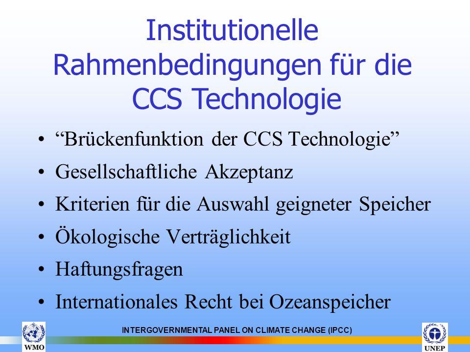 Institutionelle Rahmenbedingungen für die CCS Technologie