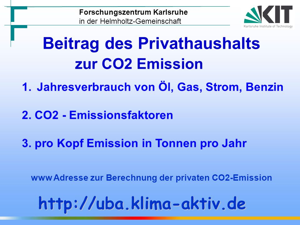 Beitrag des Privathaushalts zur CO2 Emission