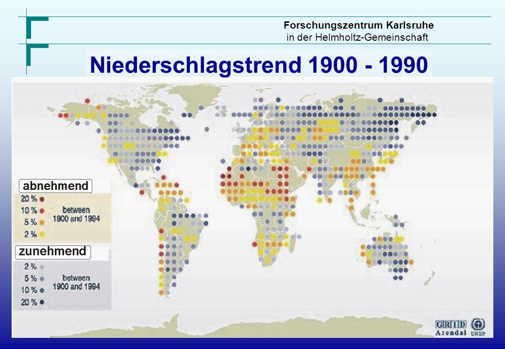 Niederschlagstrend 1900 - 1990