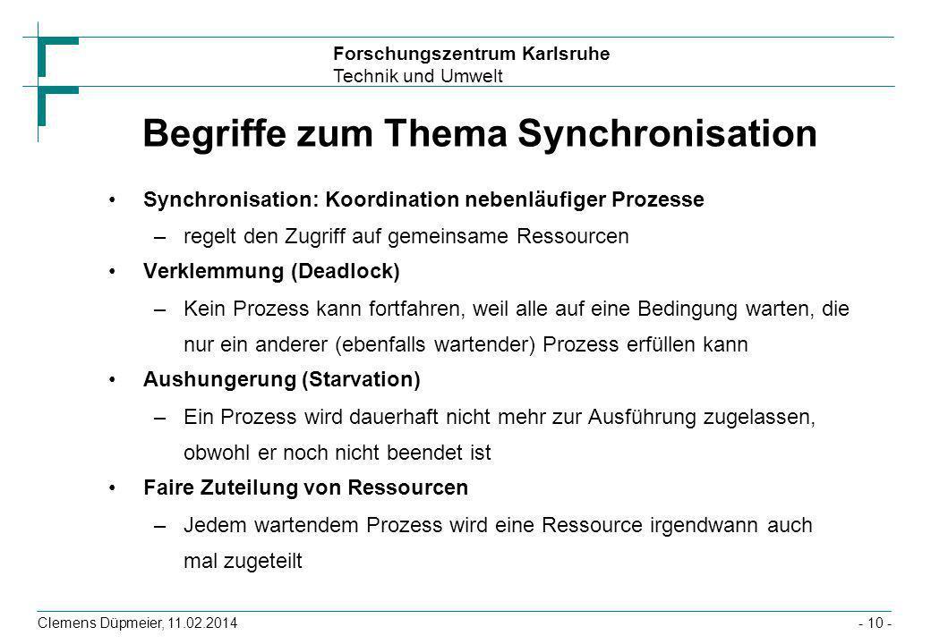 Begriffe zum Thema Synchronisation