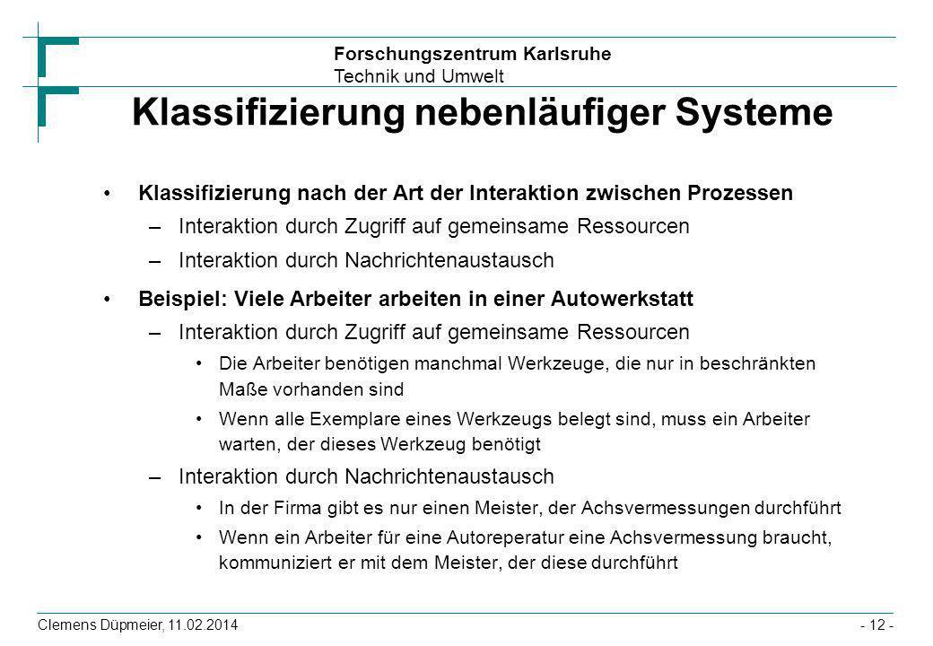 Klassifizierung nebenläufiger Systeme