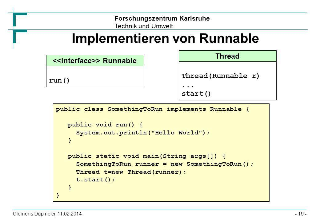 Implementieren von Runnable