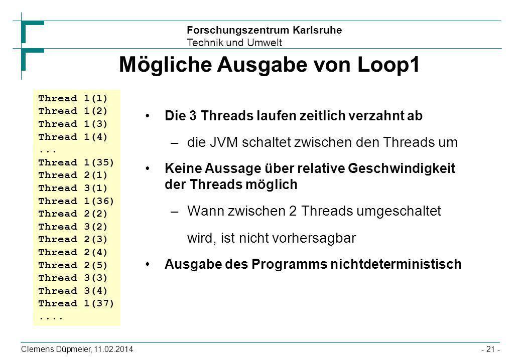 Mögliche Ausgabe von Loop1