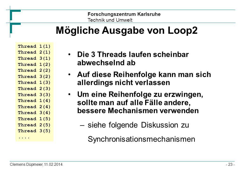 Mögliche Ausgabe von Loop2