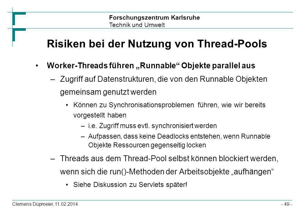 Risiken bei der Nutzung von Thread-Pools