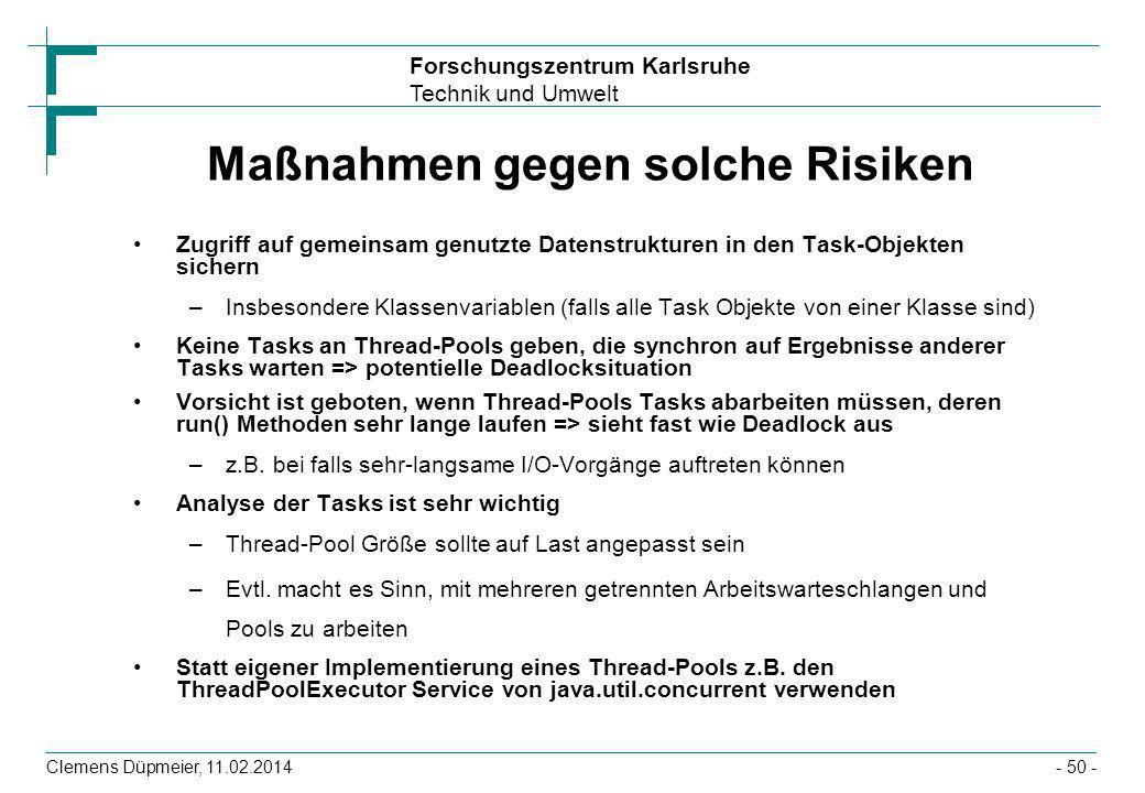 Maßnahmen gegen solche Risiken