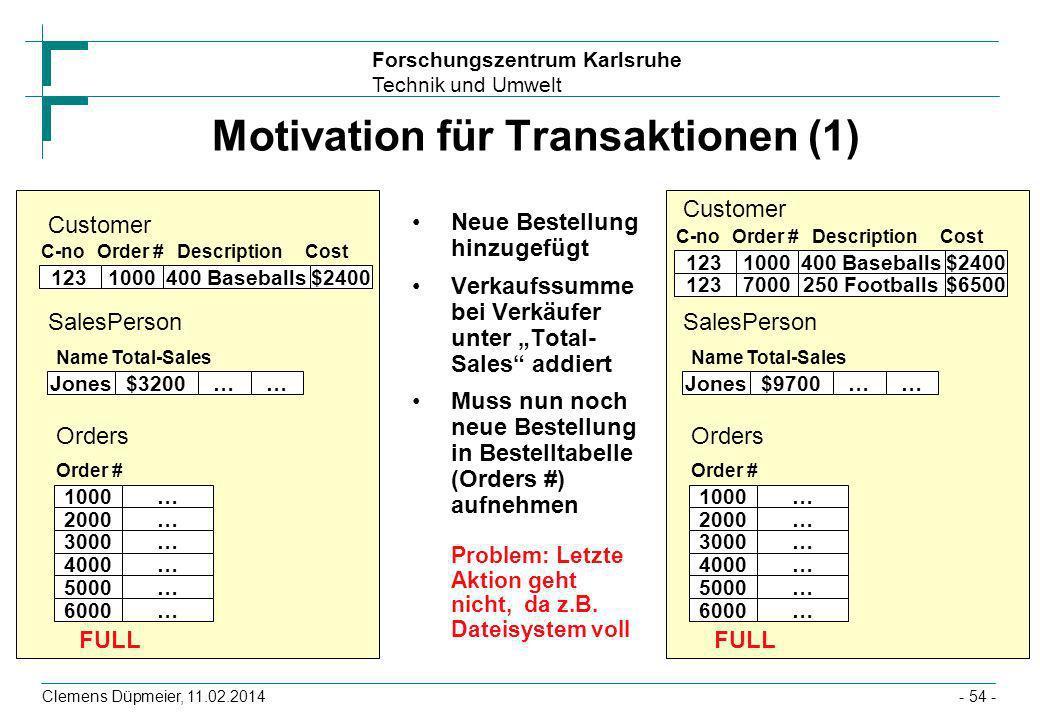 Motivation für Transaktionen (1)