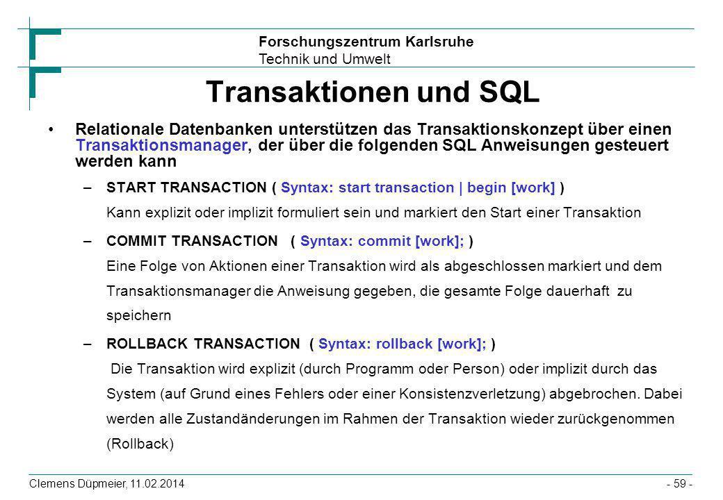 Transaktionen und SQL