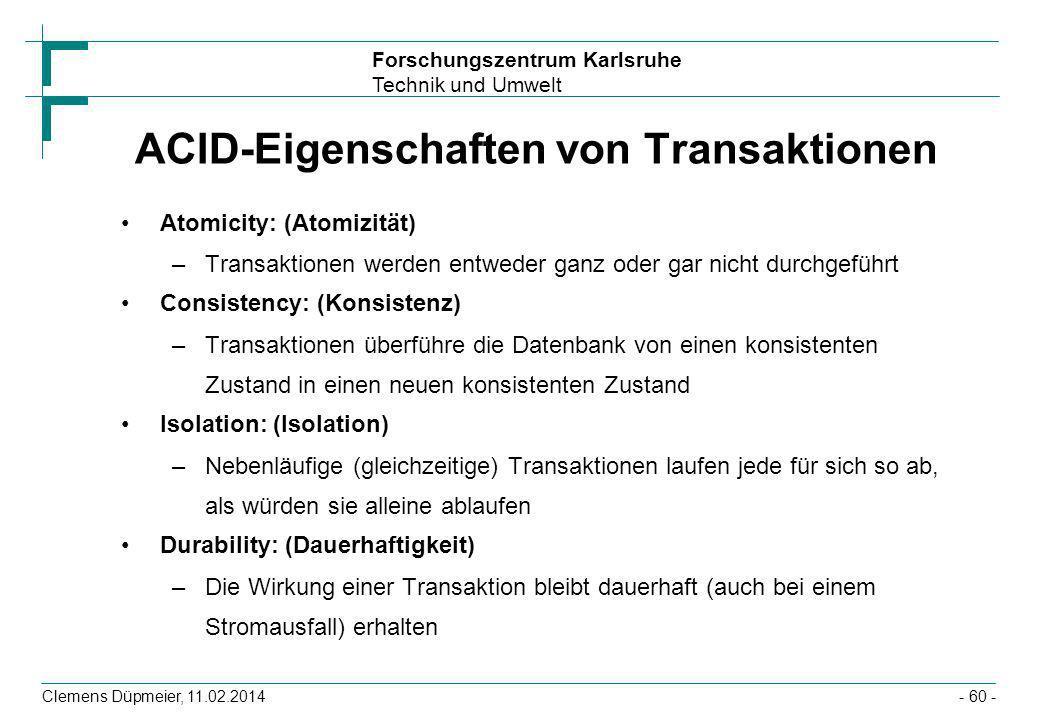 ACID-Eigenschaften von Transaktionen