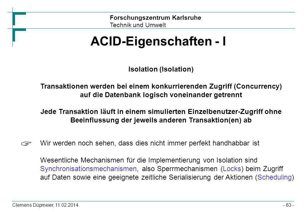 ACID-Eigenschaften - I