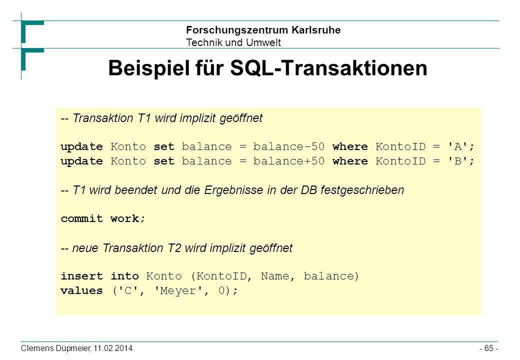 Beispiel für SQL-Transaktionen