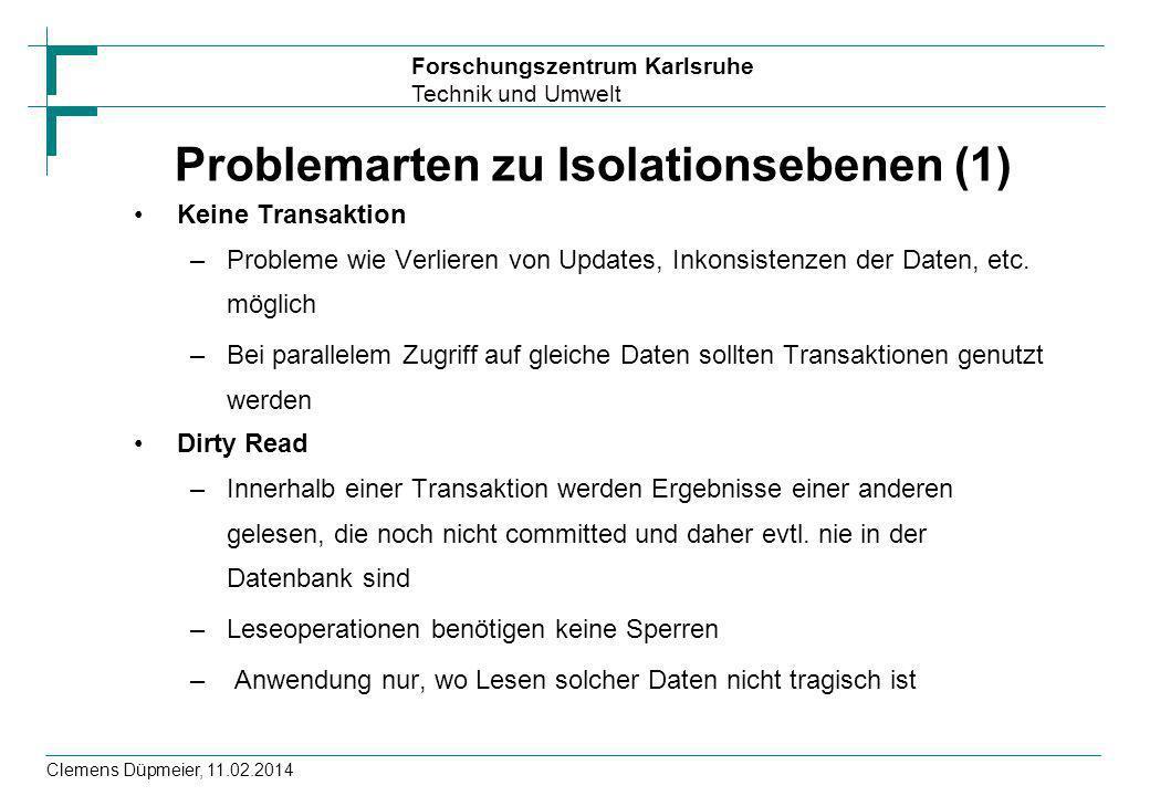 Problemarten zu Isolationsebenen (1)