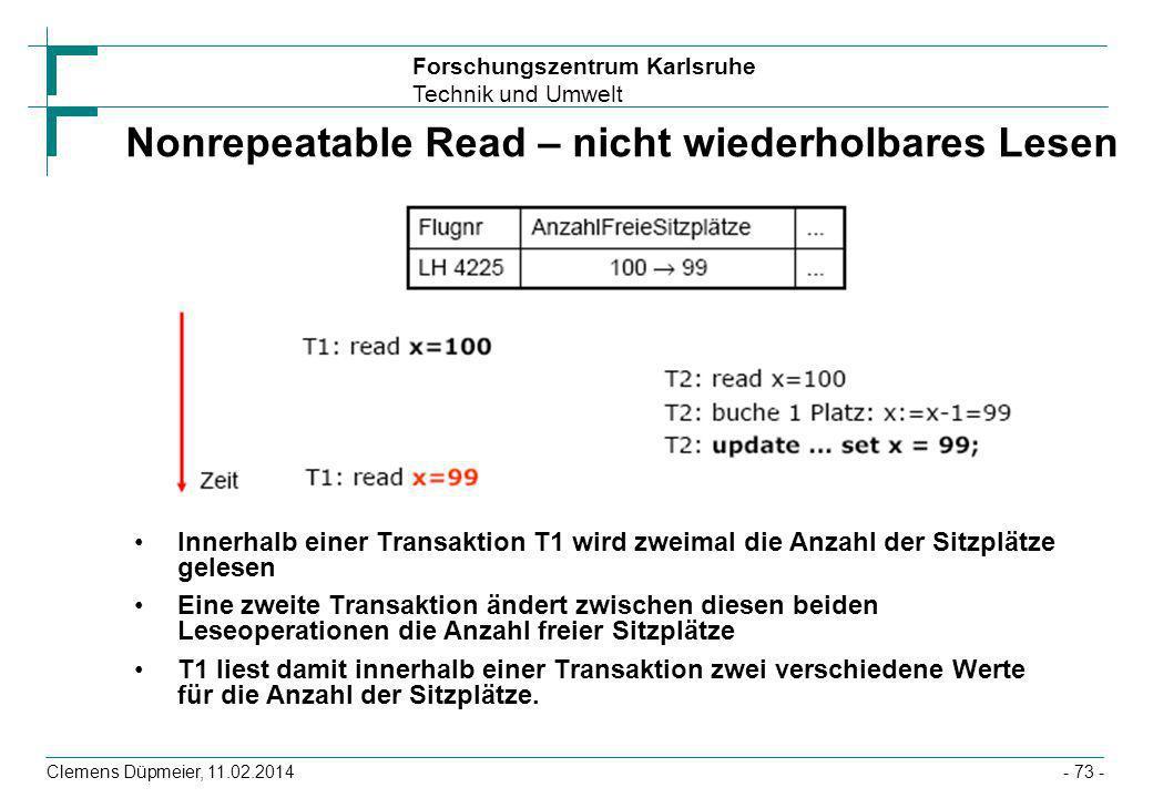 Nonrepeatable Read – nicht wiederholbares Lesen