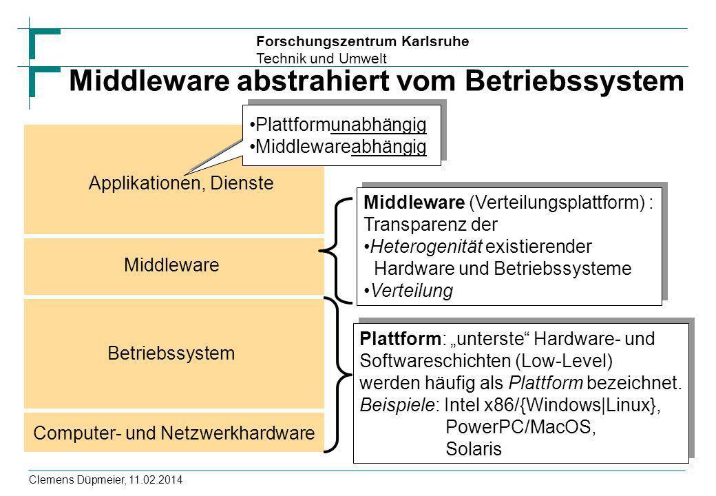 Middleware abstrahiert vom Betriebssystem