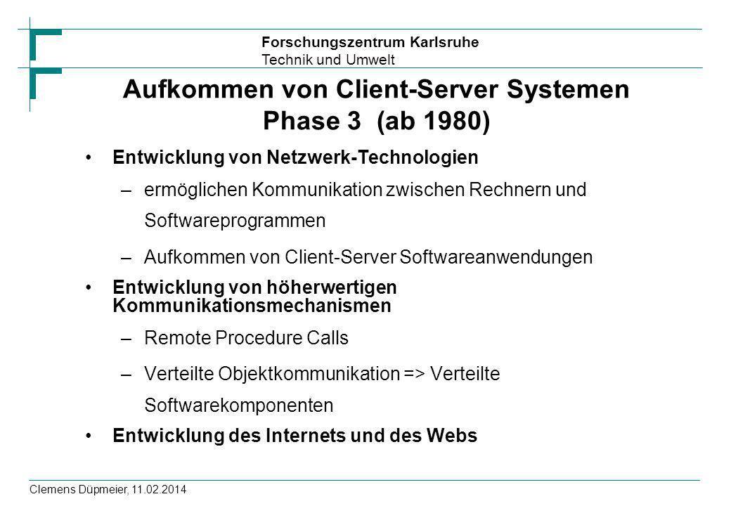 Aufkommen von Client-Server Systemen Phase 3 (ab 1980)