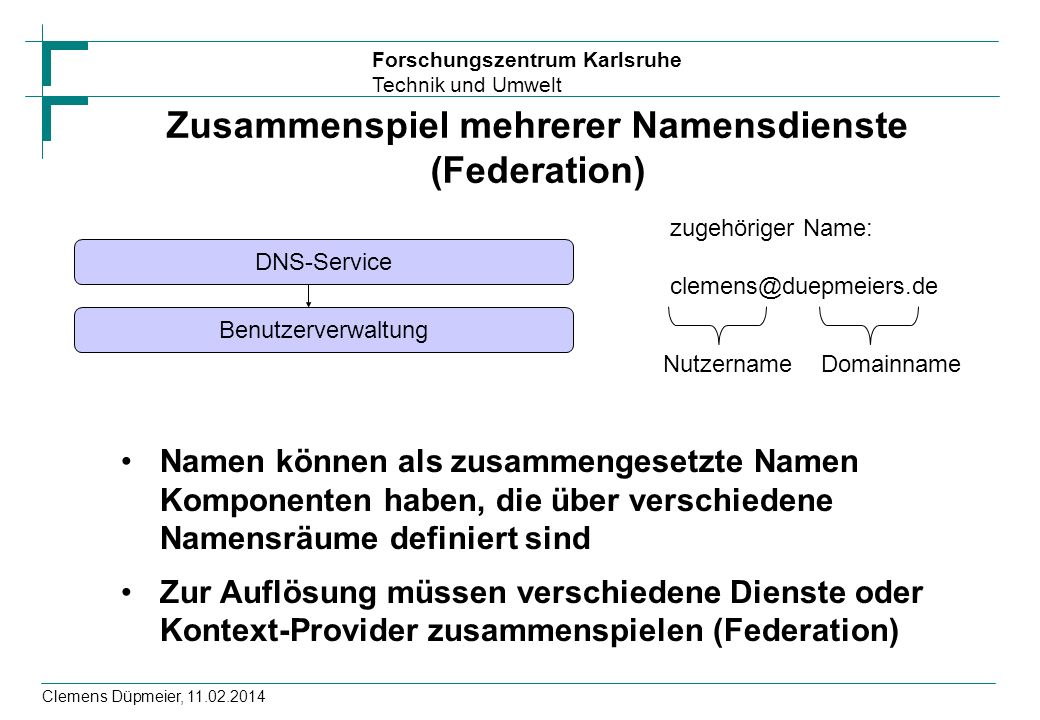 Zusammenspiel mehrerer Namensdienste (Federation)