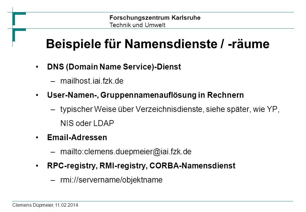 Beispiele für Namensdienste / -räume