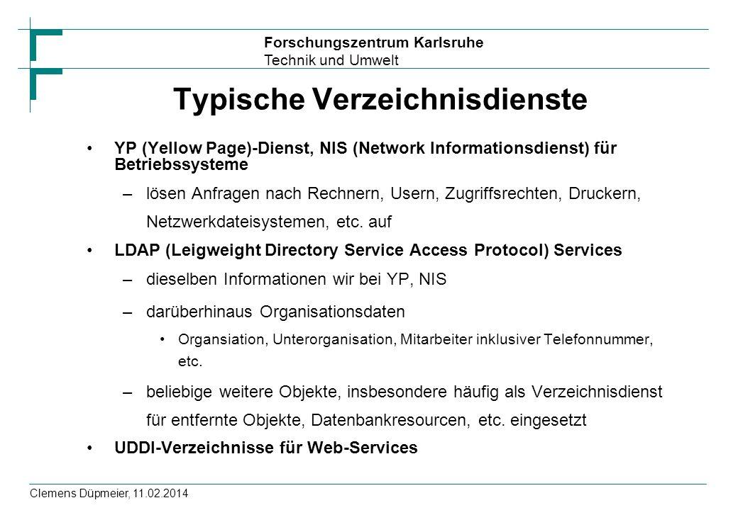 Typische Verzeichnisdienste