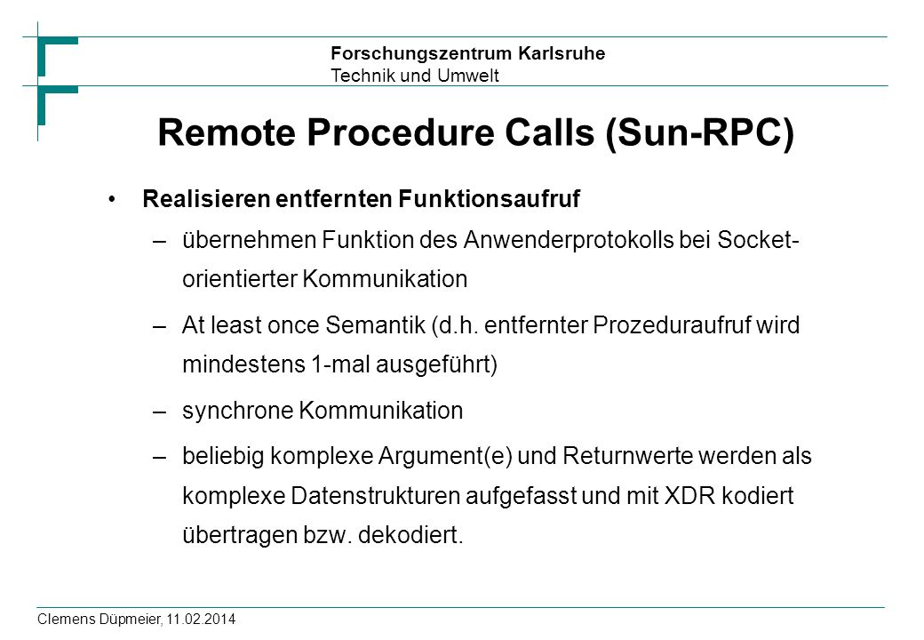 Remote Procedure Calls (Sun-RPC)