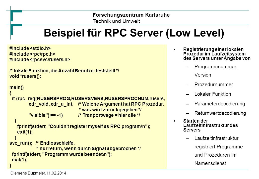 Beispiel für RPC Server (Low Level)