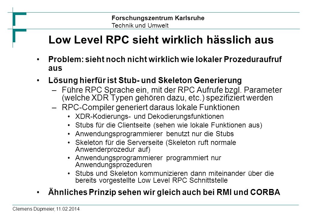 Low Level RPC sieht wirklich hässlich aus