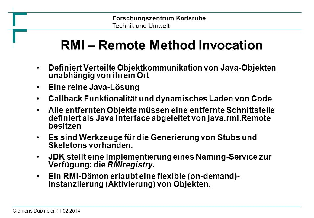 RMI – Remote Method Invocation