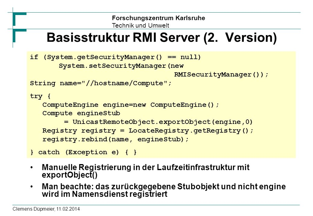 Basisstruktur RMI Server (2. Version)